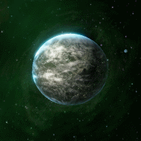 Mostly temperate continental M-Class Planet viewed against the background of nebula space.