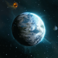 Partly oceanic M-Class Planet viewed against the background of nebula space.
